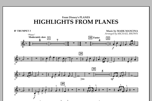 """Highlights from """"Planes"""" - Bb Trumpet 3 (Concert Band)"""