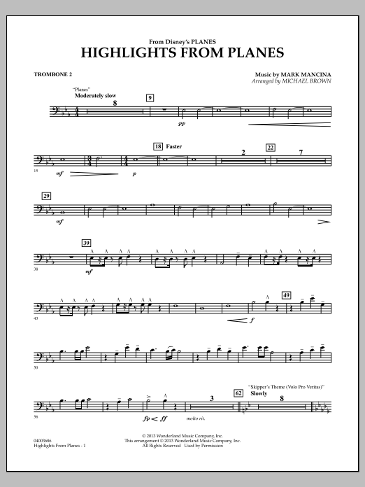 """Highlights from """"Planes"""" - Trombone 2 (Concert Band)"""