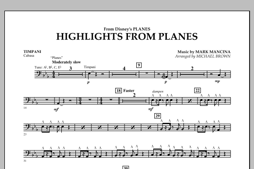"""Highlights from """"Planes"""" - Timpani (Concert Band)"""