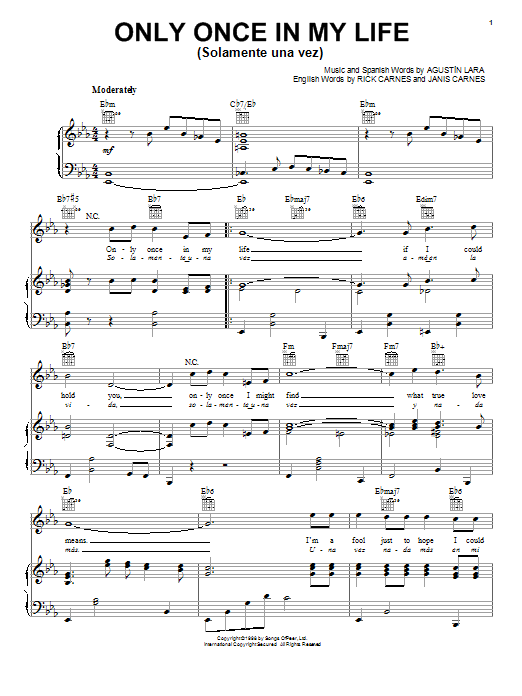 Only Once In My Life (Solamente Una Vez) Sheet Music
