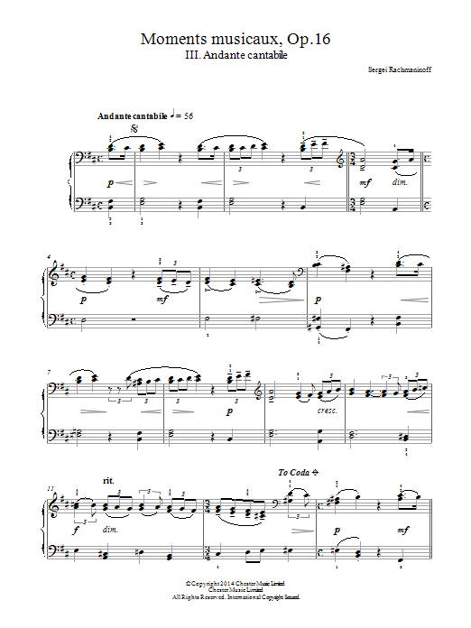 Moments musicaux Op.16, No.3 Andante cantabile Sheet Music