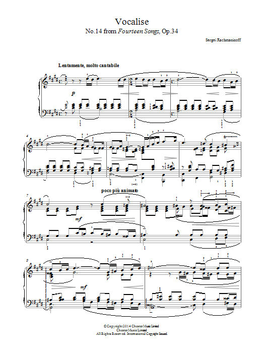 Vocalise (No.14 from Fourteen Songs, Op.34) Partituras Digitales
