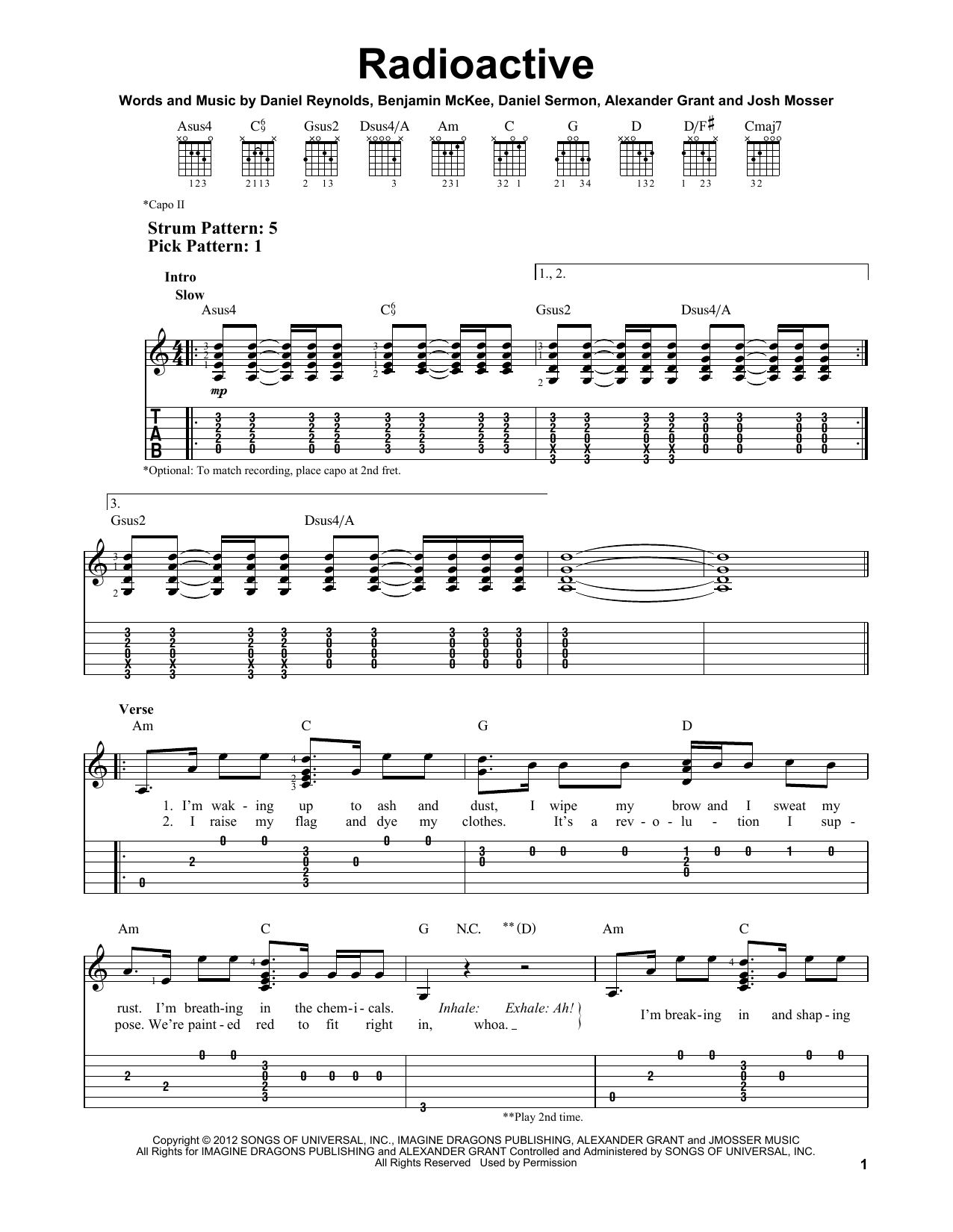Guitar guitar melody tabs : Radioactive sheet music by Imagine Dragons (Easy Guitar Tab – 152781)