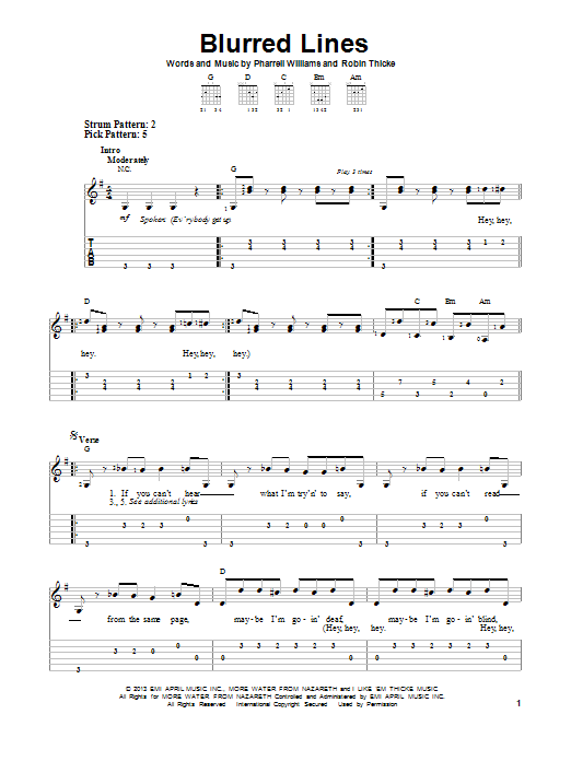 Tablature guitare Blurred Lines de Robin Thicke - Tablature guitare facile