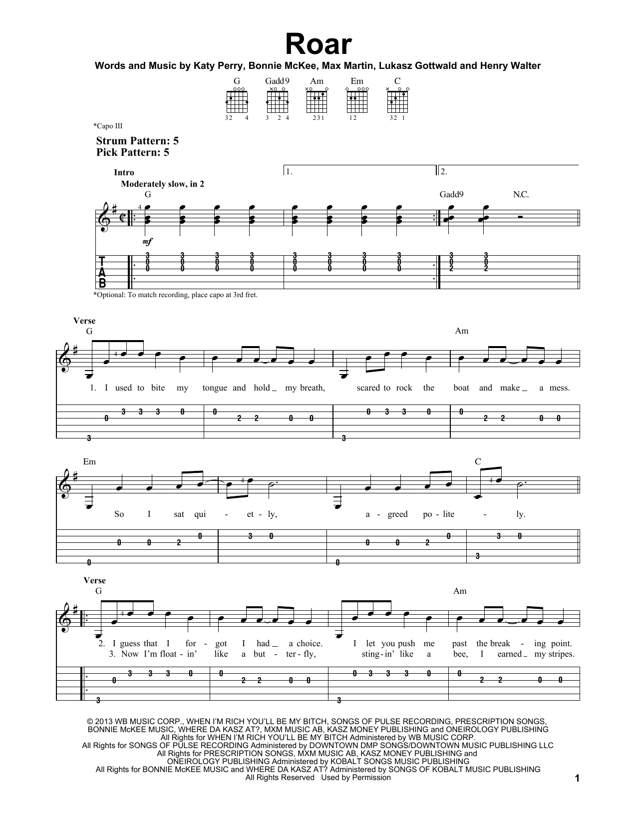 Tablature guitare Roar de Katy Perry - Tablature guitare facile