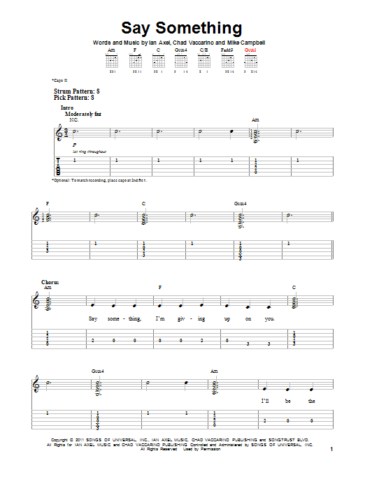 Piano say something piano chords easy : Say Something sheet music by A Great Big World (Easy Guitar Tab ...