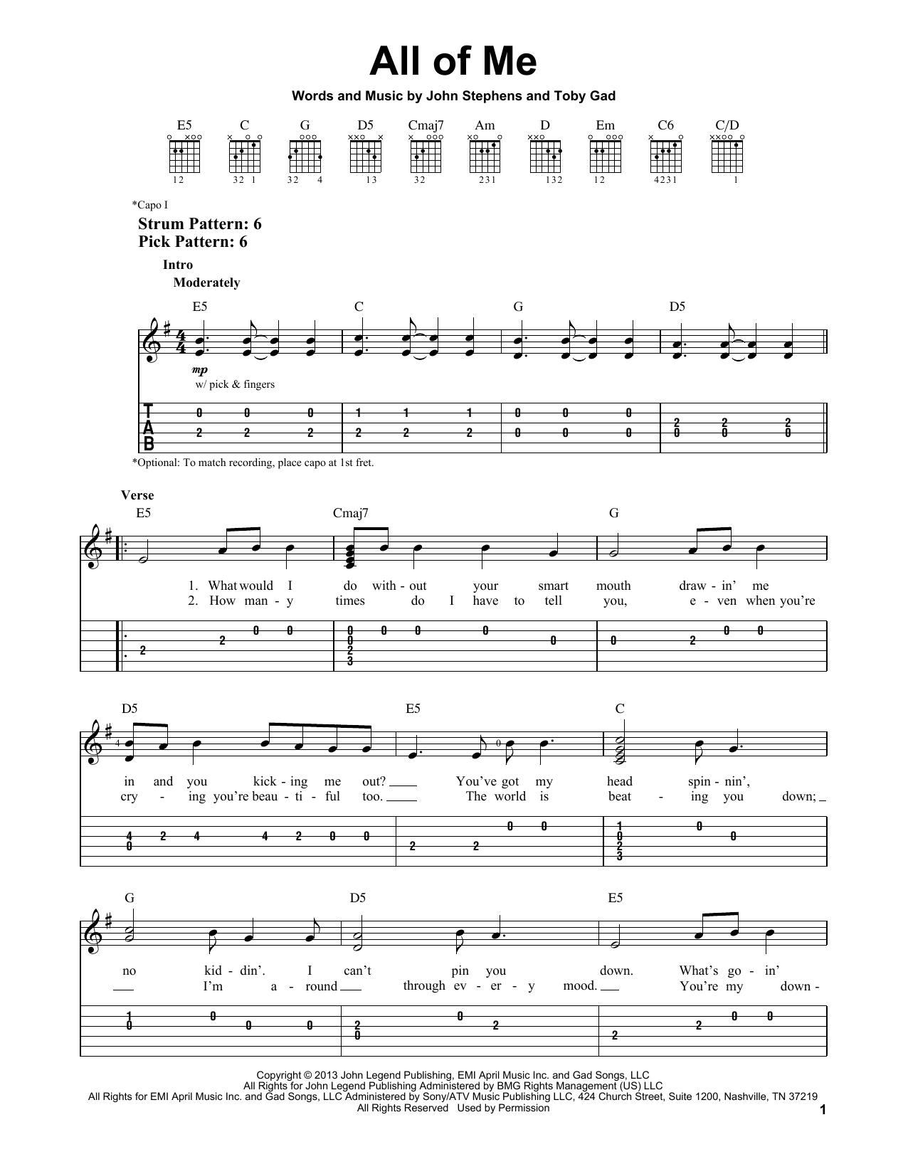 All Of Me sheet music by John Legend (Easy Guitar Tab u2013 152802)
