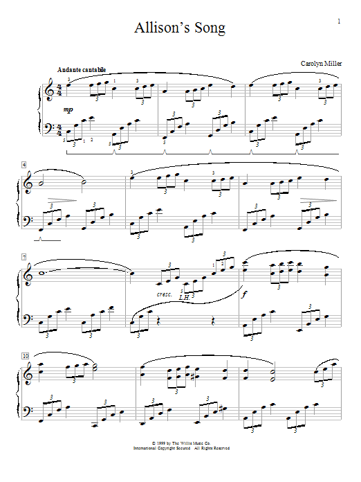Allison's Song Sheet Music