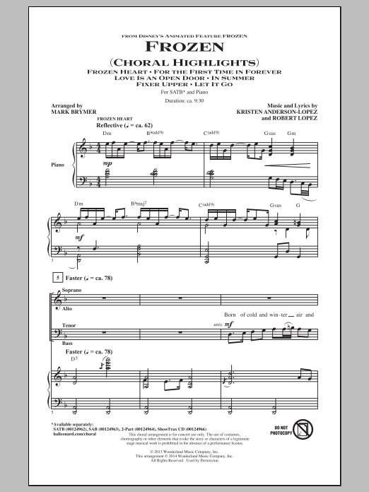 Partition chorale Frozen (Choral Highlights) de Robert Lopez - SATB