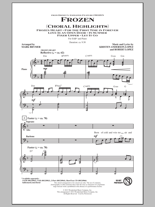 Frozen (Choral Highlights) (arr. Mark Brymer) Sheet Music