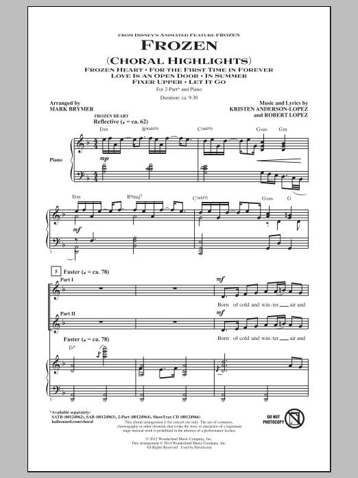 Frozen (Choral Highlights) (arr. Mark Brymer) Sheet Music