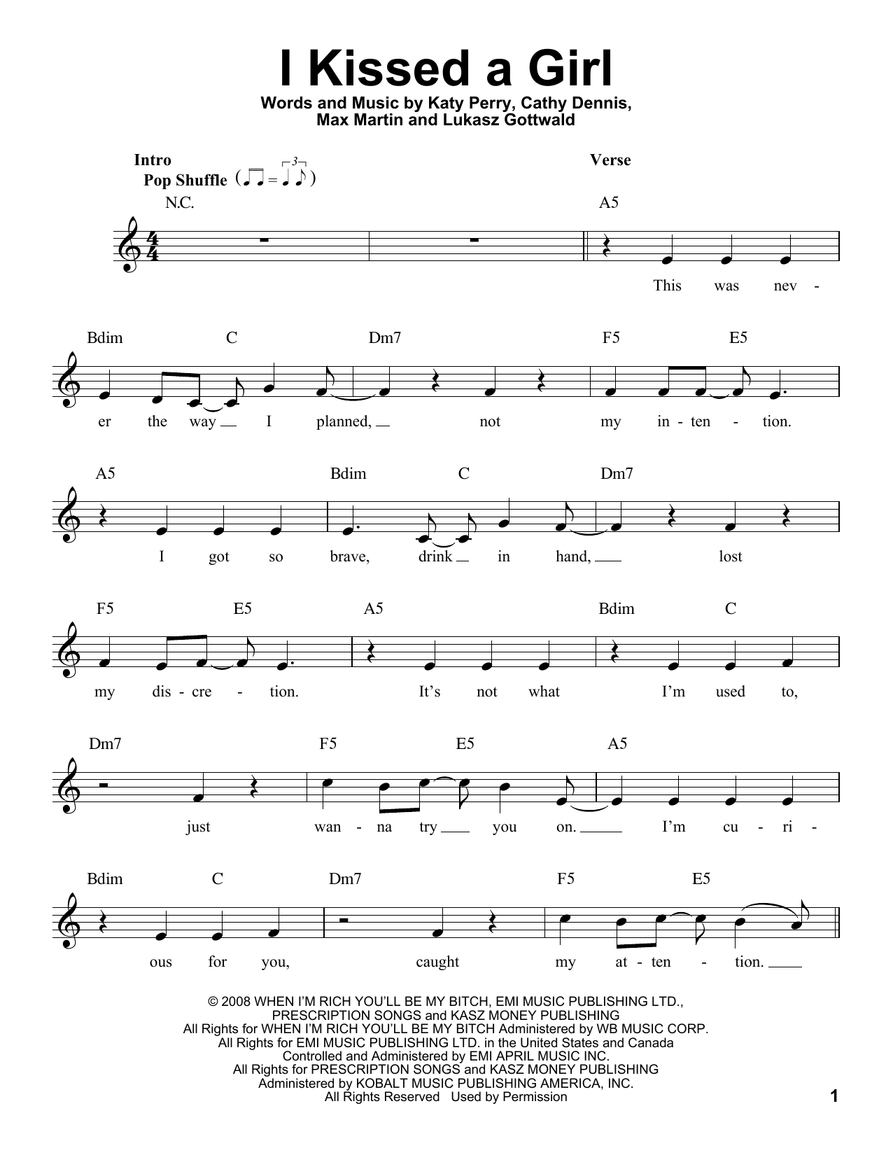 I Kissed A Girl Sheet Music