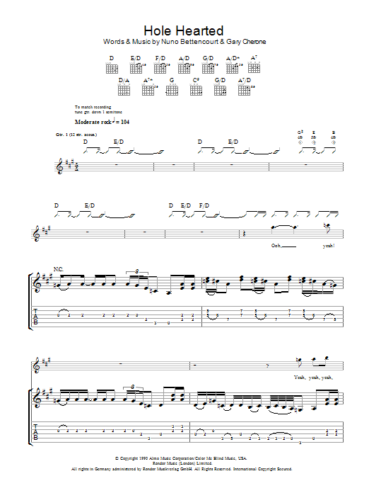 Hole Hearted | Extreme | Guitar Tab