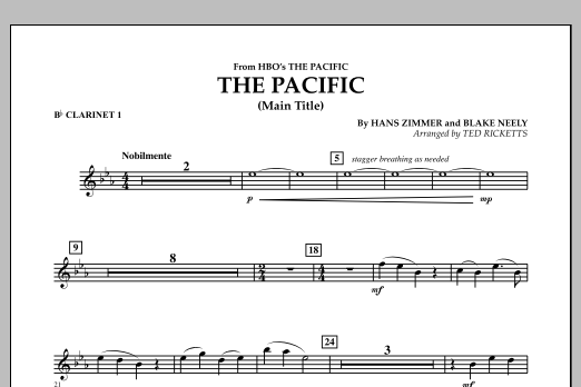 The Pacific (Main Title) - Bb Clarinet 1 (Concert Band)