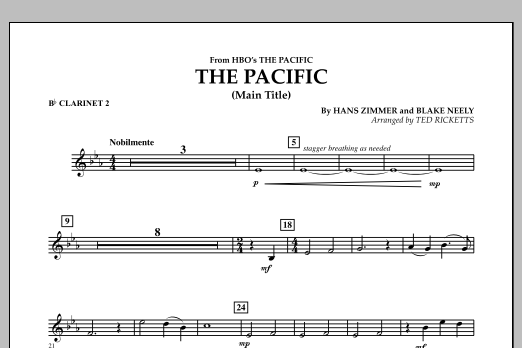 The Pacific (Main Title) - Bb Clarinet 2 (Concert Band)