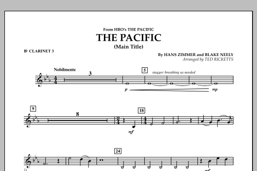 The Pacific (Main Title) - Bb Clarinet 3 (Concert Band)