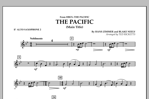 The Pacific (Main Title) - Eb Alto Saxophone 2 (Concert Band)