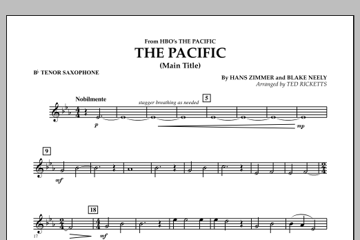 The Pacific (Main Title) - Bb Tenor Saxophone (Concert Band)