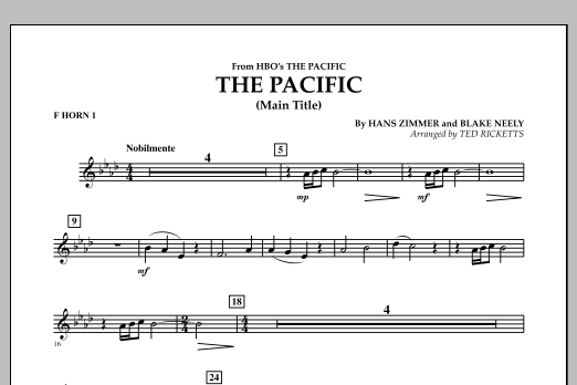 The Pacific (Main Title) - F Horn 1 (Concert Band)
