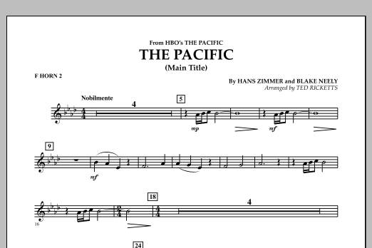 The Pacific (Main Title) - F Horn 2 (Concert Band)