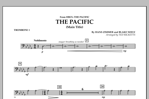 The Pacific (Main Title) - Trombone 1 (Concert Band)