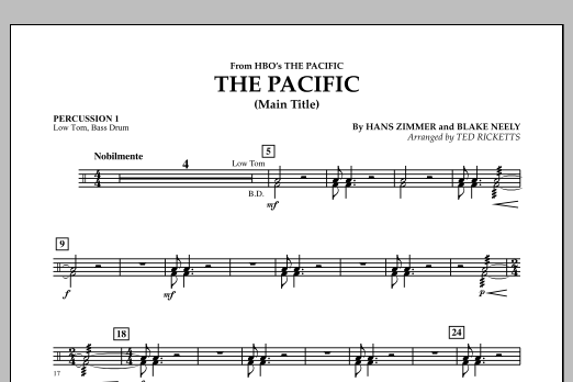 The Pacific (Main Title) - Percussion 1 (Concert Band)