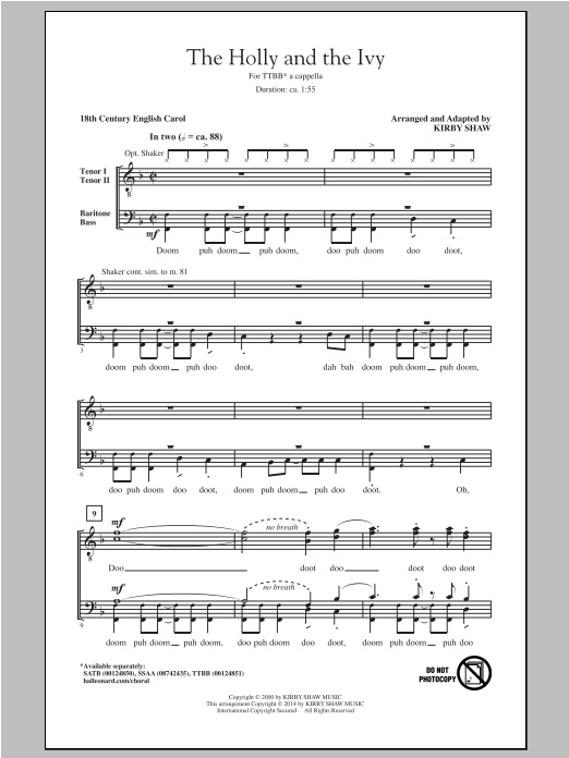 The Holly And The Ivy (arr. Kirby Shaw) Sheet Music