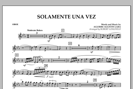 Solamente Una Vez - Oboe (Concert Band)