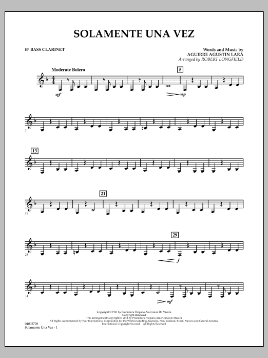 Solamente Una Vez - Bb Bass Clarinet (Concert Band)