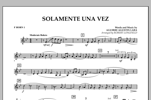 Solamente Una Vez - F Horn 1 (Concert Band)