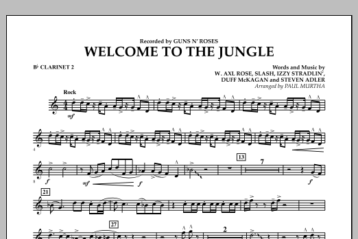 Welcome to the Jungle - Bb Clarinet 2 (Concert Band)