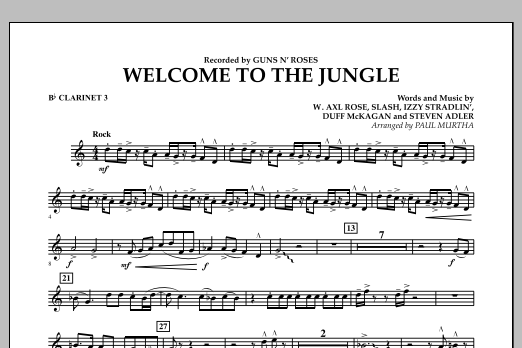 Welcome to the Jungle - Bb Clarinet 3 (Concert Band)