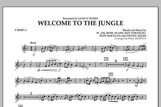 Welcome to the Jungle - F Horn 2 (Concert Band)
