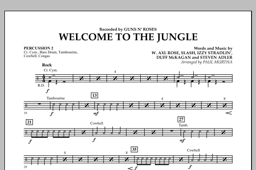 Welcome to the Jungle - Percussion 2 (Concert Band)