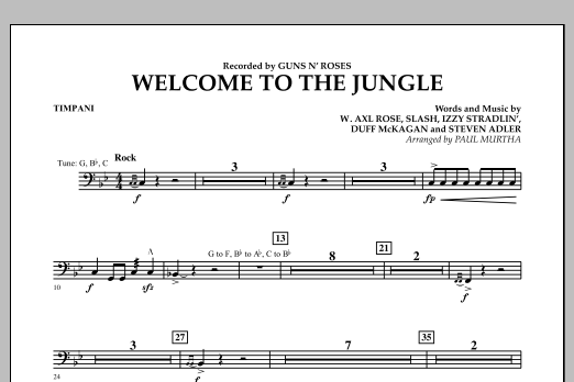 Welcome to the Jungle - Timpani (Concert Band)