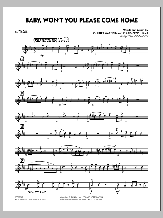 Baby, Won't You Please Come Home - Alto Sax 1 (Jazz Ensemble)
