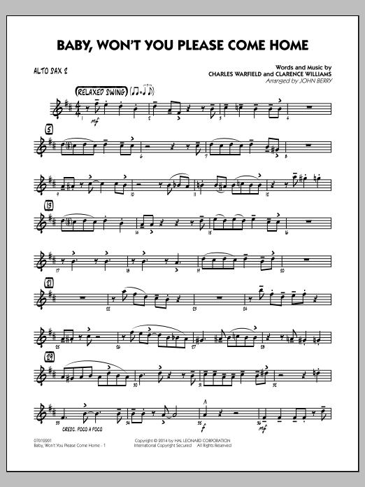 Baby, Won't You Please Come Home - Alto Sax 2 (Jazz Ensemble)