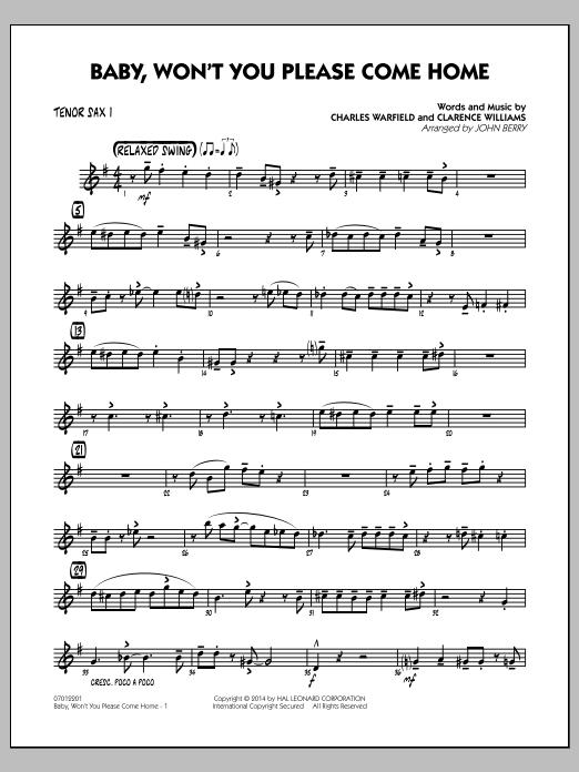 Baby, Won't You Please Come Home - Tenor Sax 1 (Jazz Ensemble)