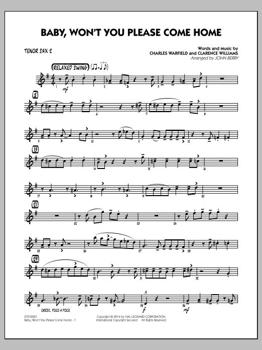 Baby, Won't You Please Come Home - Tenor Sax 2 (Jazz Ensemble)