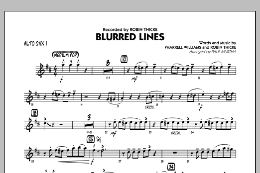 Blurred Lines - Alto Sax 1 (Jazz Ensemble)