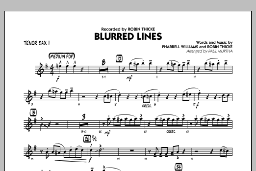 Blurred Lines - Tenor Sax 1 (Jazz Ensemble)