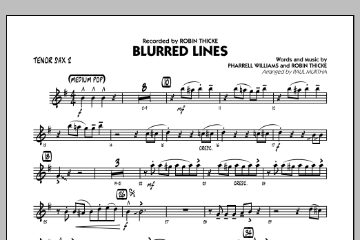 Blurred Lines - Tenor Sax 2 (Jazz Ensemble)