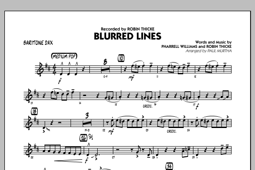 Blurred Lines - Baritone Sax (Jazz Ensemble)