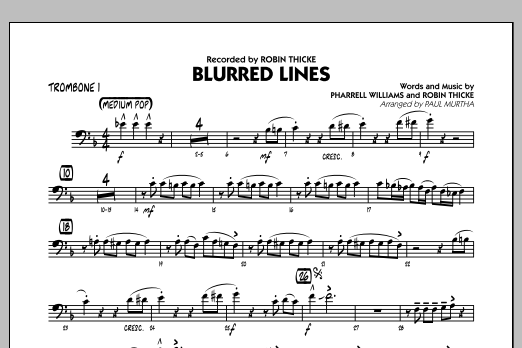 Blurred Lines - Trombone 1 (Jazz Ensemble)