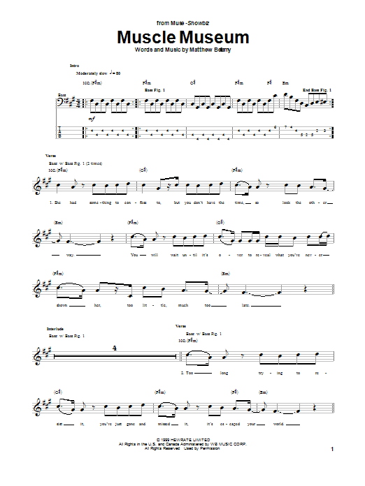 Muscle Museum (Bass Guitar Tab)