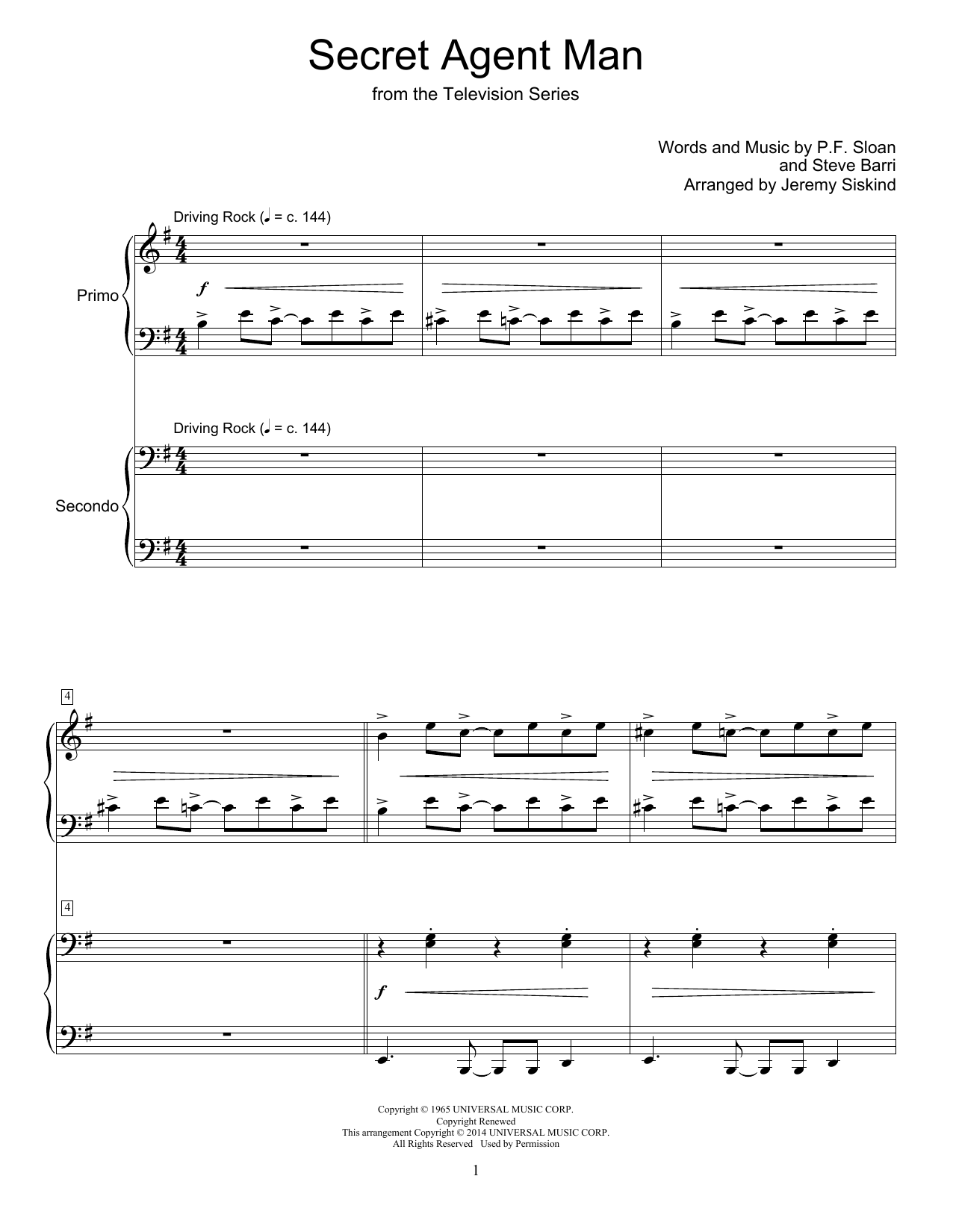 Secret Agent Man Sheet Music