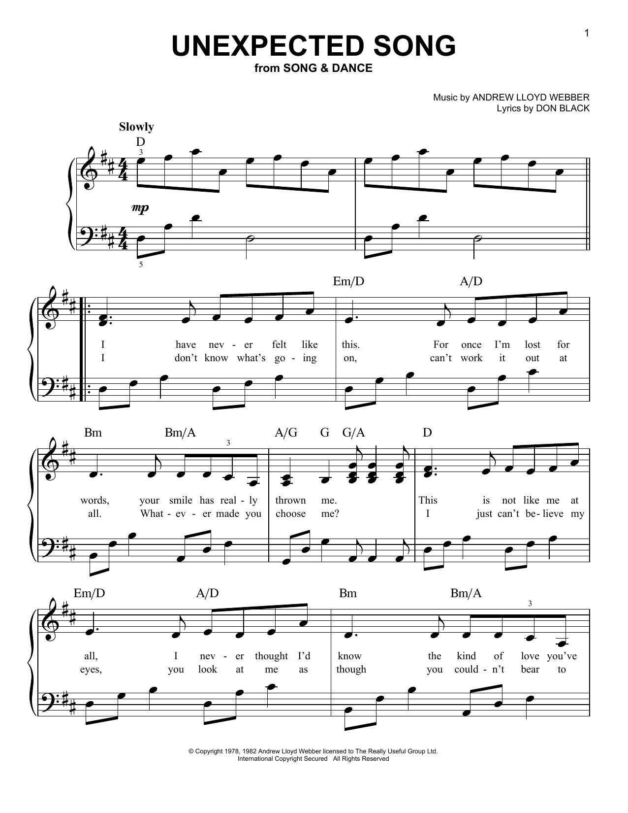Unexpected Song Sheet Music
