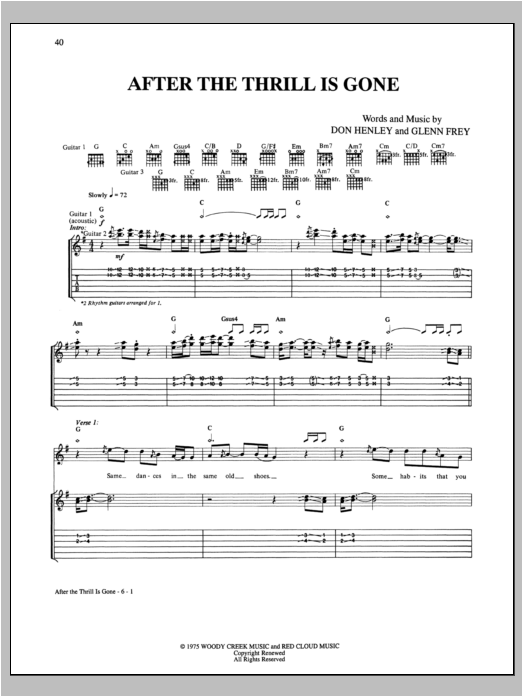 After The Thrill Is Gone Sheet Music