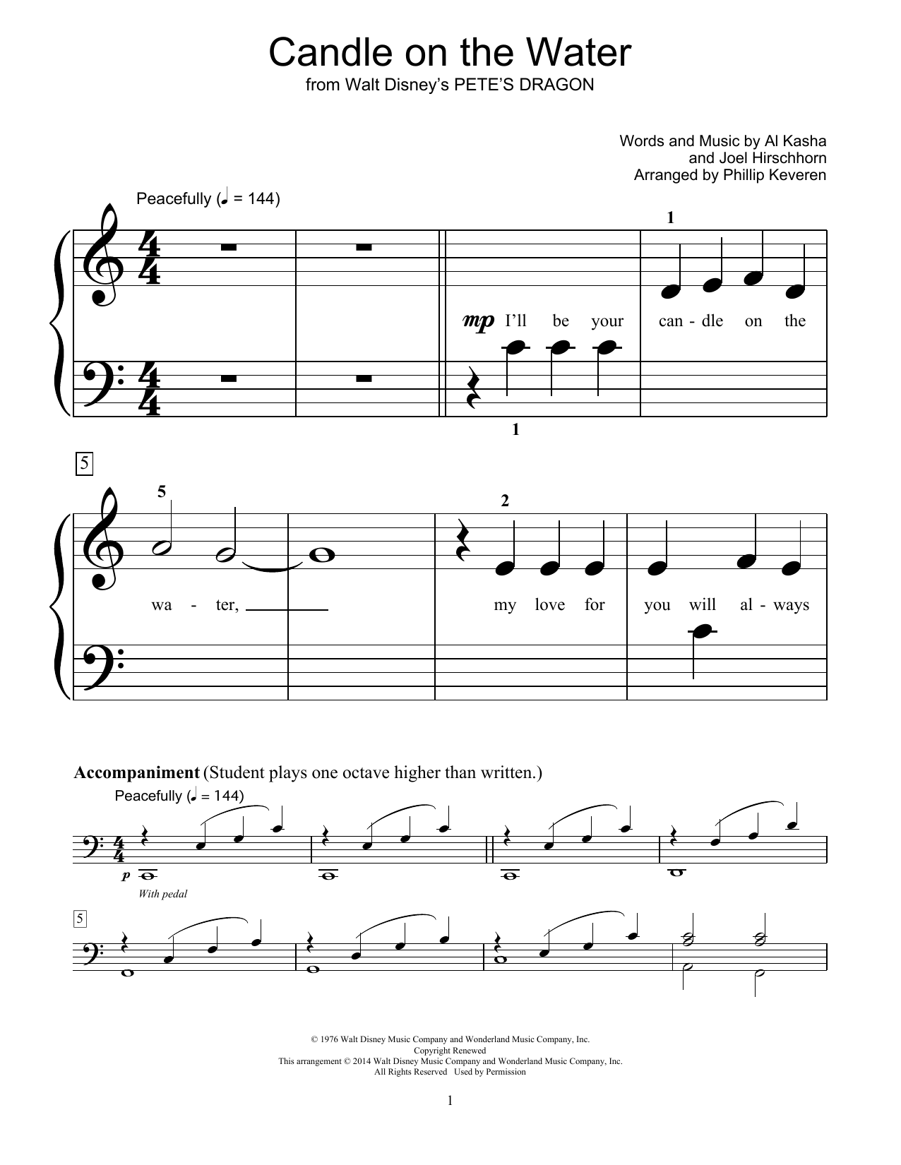 Candle On The Water Sheet Music