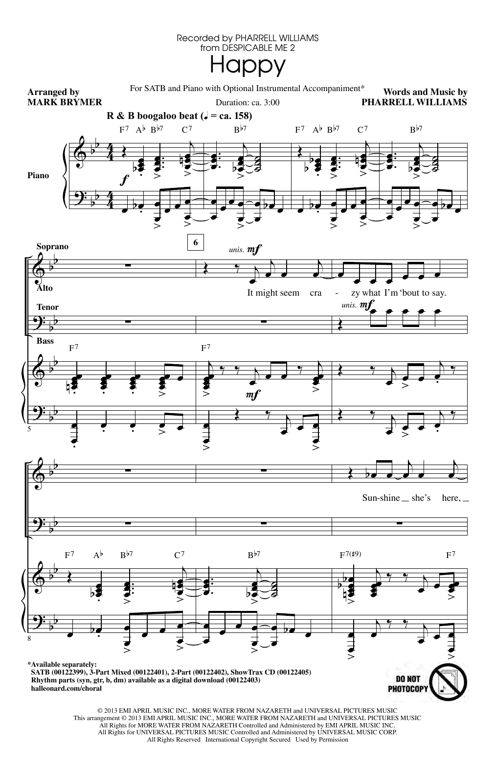 Happy (arr. Mark Brymer) Sheet Music